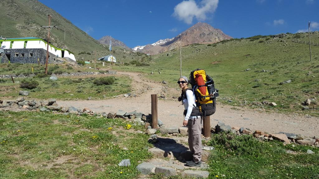 Michelle bem carregada para passarmos os próximo dias na montanha.
